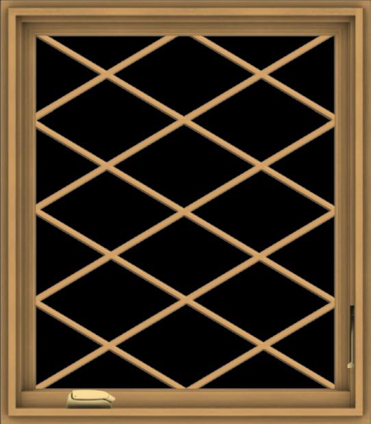 WDMA 28x32 (27.5 x 31.5 inch) Pine Wood Dark Grey Aluminum Crank out Casement Window  with Diamond Grills