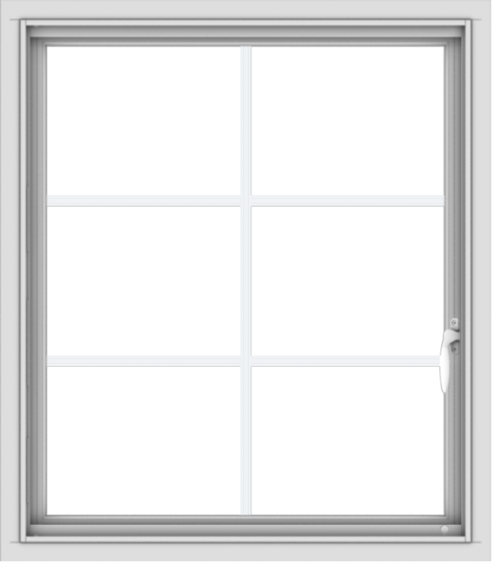 WDMA 28x32 (27.5 x 31.5 inch) Vinyl uPVC White Push out Casement Window with Colonial Grids