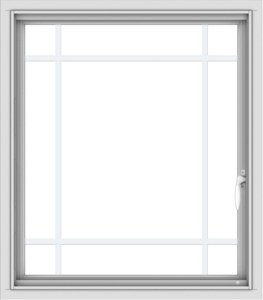 WDMA 28x32 (27.5 x 31.5 inch) Vinyl uPVC White Push out Casement Window with Prairie Grilles