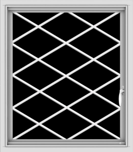WDMA 28x32 (27.5 x 31.5 inch) Vinyl uPVC White Push out Casement Window  with Diamond Grills
