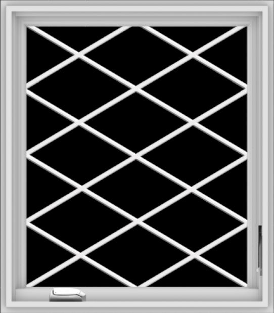 WDMA 28x32 (27.5 x 31.5 inch) White Vinyl uPVC Crank out Casement Window  with Diamond Grills
