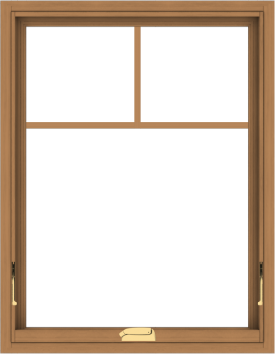 WDMA 28x36 (27.5 x 35.5 inch) Oak Wood Dark Brown Bronze Aluminum Crank out Awning Window with Fractional Grilles