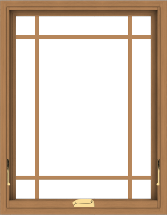 WDMA 28x36 (27.5 x 35.5 inch) Oak Wood Dark Brown Bronze Aluminum Crank out Awning Window with Prairie Grilles