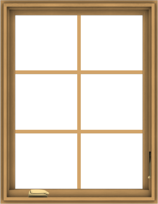 WDMA 28x36 (27.5 x 35.5 inch) Pine Wood Dark Grey Aluminum Crank out Casement Window with Colonial Grids