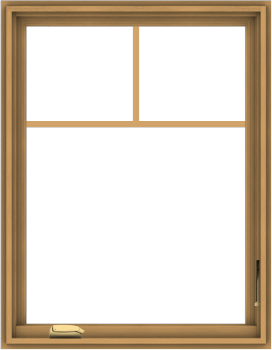 WDMA 28x36 (27.5 x 35.5 inch) Pine Wood Dark Grey Aluminum Crank out Casement Window with Fractional Grilles