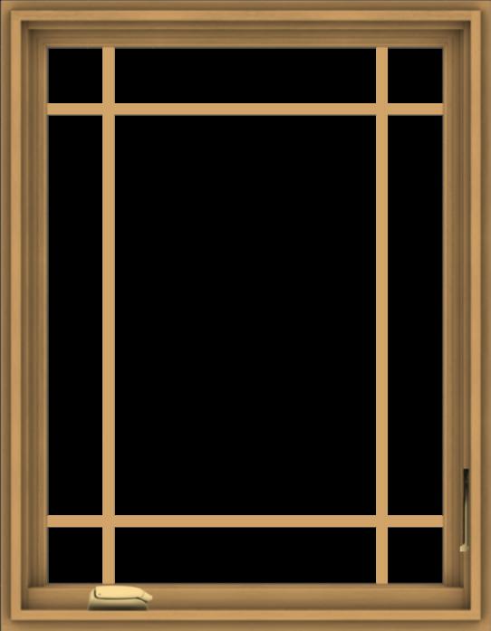 WDMA 28x36 (27.5 x 35.5 inch) Pine Wood Dark Grey Aluminum Crank out Casement Window with Prairie Grilles