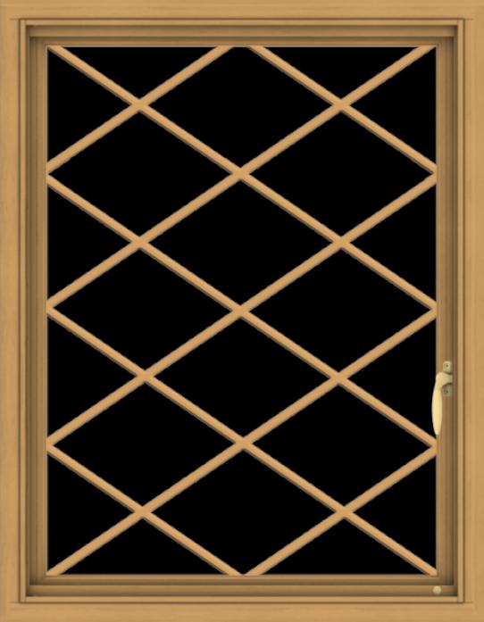 WDMA 28x36 (27.5 x 35.5 inch) Pine Wood Light Grey Aluminum Push out Casement Window  with Diamond Grills