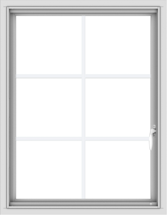 WDMA 28x36 (27.5 x 35.5 inch) Vinyl uPVC White Push out Casement Window with Colonial Grids