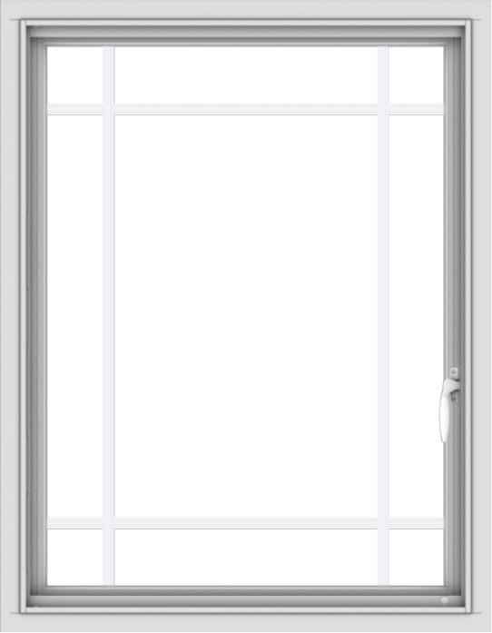 WDMA 28x36 (27.5 x 35.5 inch) Vinyl uPVC White Push out Casement Window with Prairie Grilles