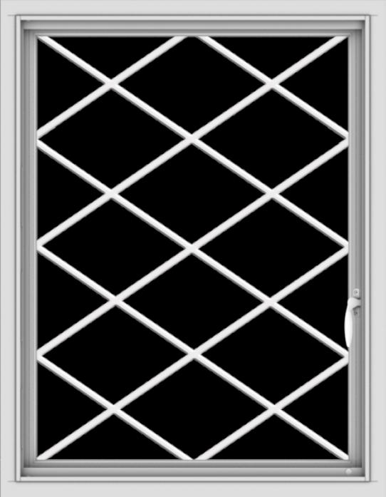 WDMA 28x36 (27.5 x 35.5 inch) Vinyl uPVC White Push out Casement Window  with Diamond Grills