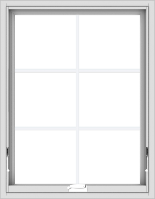 WDMA 28x36 (27.5 x 35.5 inch) White Vinyl uPVC Crank out Awning Window with Colonial Grids Interior