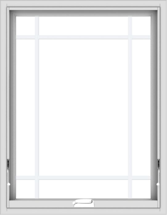 WDMA 28x36 (27.5 x 35.5 inch) White Vinyl uPVC Crank out Awning Window with Prairie Grilles