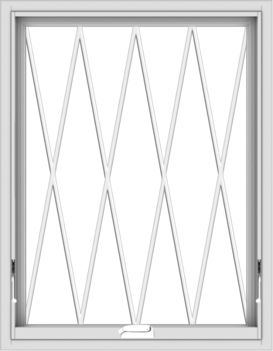 WDMA 28x36 (27.5 x 35.5 inch) White Vinyl uPVC Crank out Awning Window without Grids with Diamond Grills