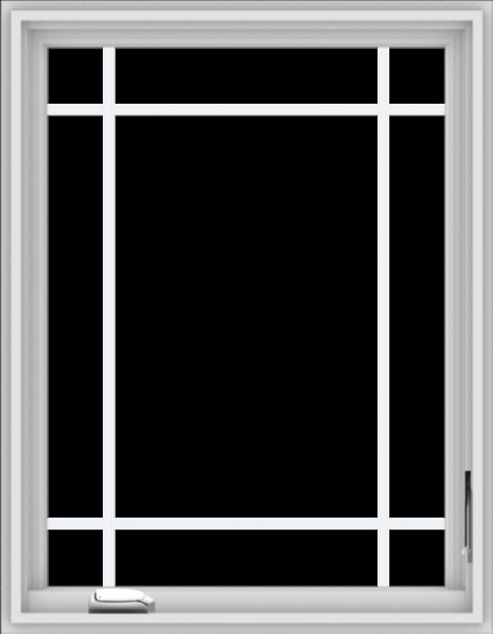 WDMA 28x36 (27.5 x 35.5 inch) White Vinyl uPVC Crank out Casement Window with Prairie Grilles