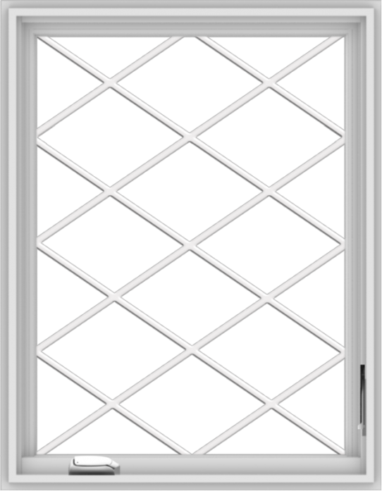 WDMA 28x36 (27.5 x 35.5 inch) White Vinyl uPVC Crank out Casement Window  with Diamond Grills
