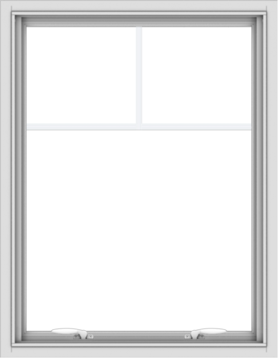 WDMA 28x36 (27.5 x 35.5 inch) White uPVC Vinyl Push out Awning Window with Fractional Grilles
