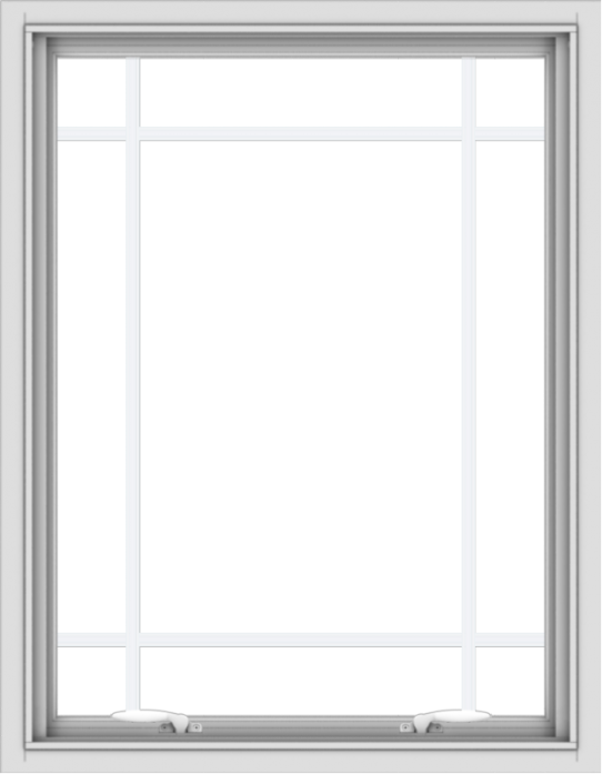 WDMA 28x36 (27.5 x 35.5 inch) White uPVC Vinyl Push out Awning Window with Prairie Grilles