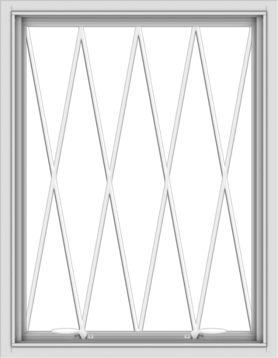 WDMA 28x36 (27.5 x 35.5 inch) White uPVC Vinyl Push out Awning Window without Grids with Diamond Grills