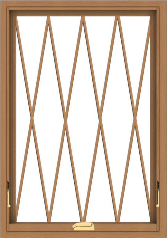 WDMA 28x40 (27.5 x 39.5 inch) Oak Wood Dark Brown Bronze Aluminum Crank out Awning Window without Grids with Diamond Grills