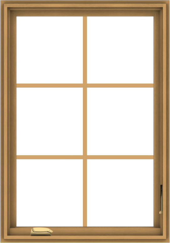 WDMA 28x40 (27.5 x 39.5 inch) Pine Wood Dark Grey Aluminum Crank out Casement Window with Colonial Grids