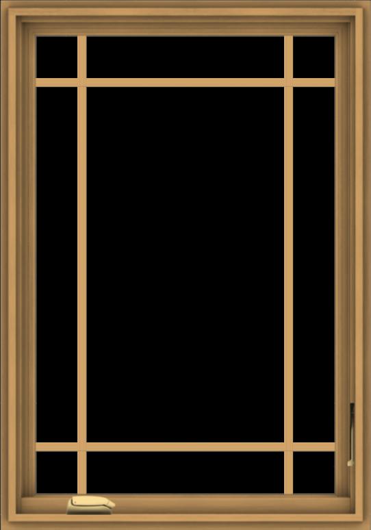WDMA 28x40 (27.5 x 39.5 inch) Pine Wood Dark Grey Aluminum Crank out Casement Window with Prairie Grilles