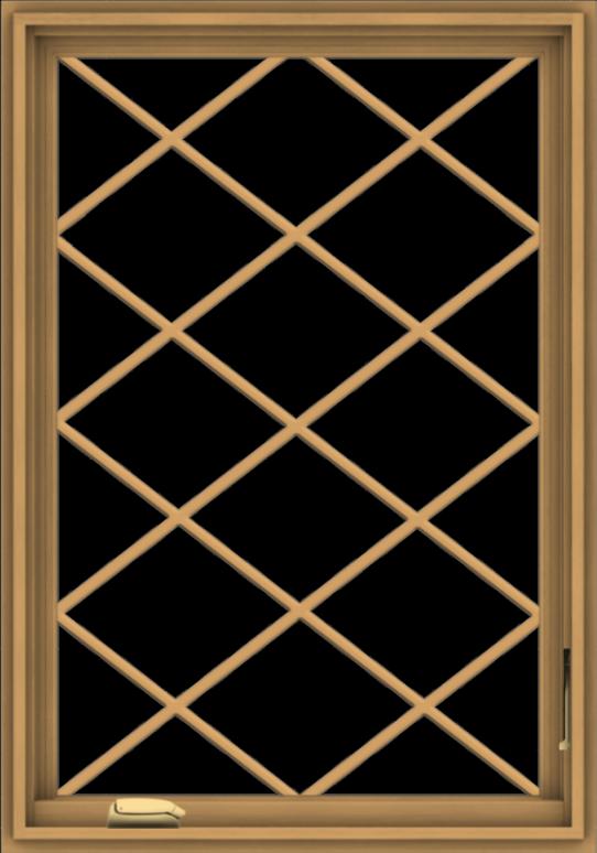 WDMA 28x40 (27.5 x 39.5 inch) Pine Wood Dark Grey Aluminum Crank out Casement Window  with Diamond Grills