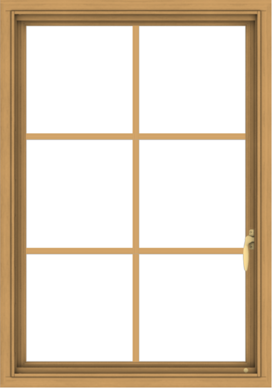 WDMA 28x40 (27.5 x 39.5 inch) Pine Wood Light Grey Aluminum Push out Casement Window with Colonial Grids