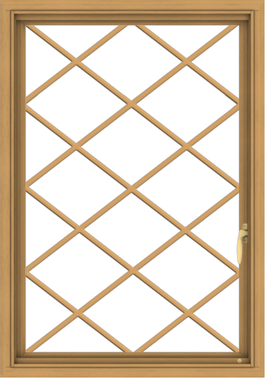 WDMA 28x40 (27.5 x 39.5 inch) Pine Wood Light Grey Aluminum Push out Casement Window  with Diamond Grills