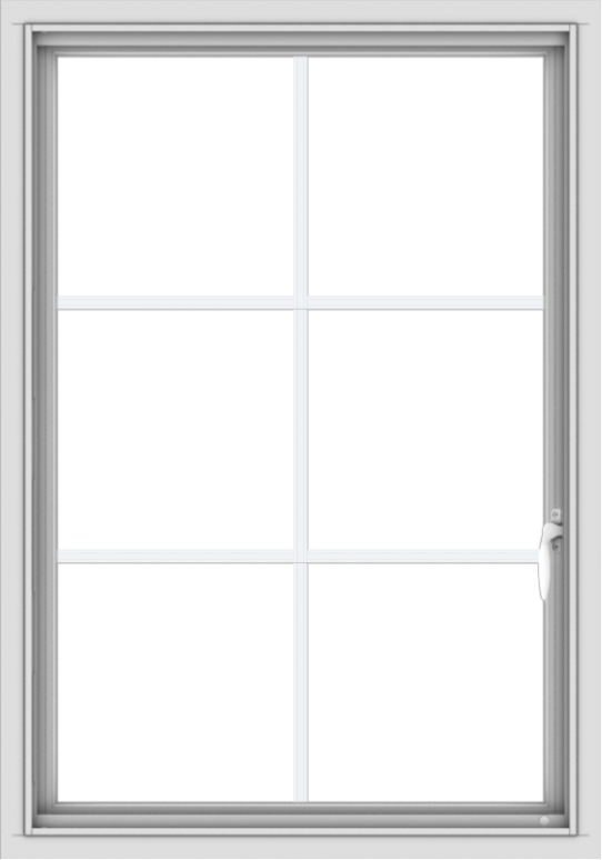 WDMA 28x40 (27.5 x 39.5 inch) Vinyl uPVC White Push out Casement Window with Colonial Grids