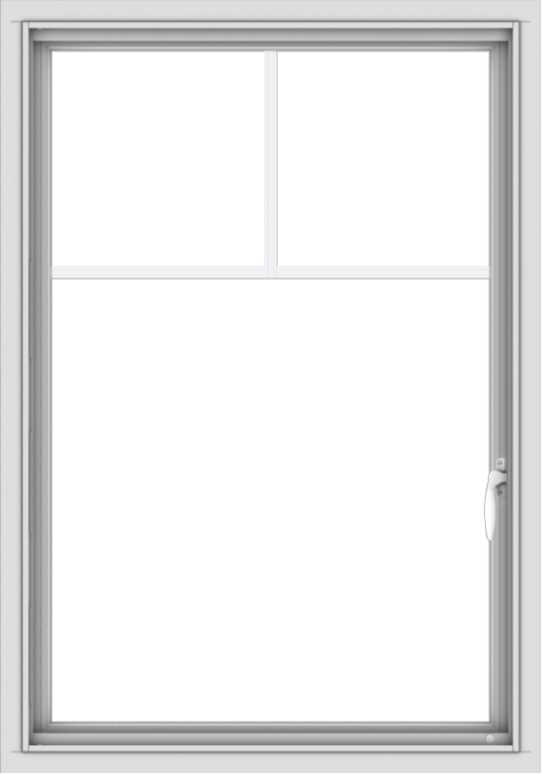 WDMA 28x40 (27.5 x 39.5 inch) Vinyl uPVC White Push out Casement Window with Fractional Grilles