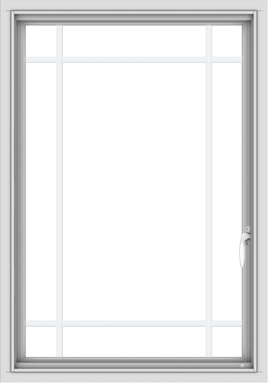 WDMA 28x40 (27.5 x 39.5 inch) Vinyl uPVC White Push out Casement Window with Prairie Grilles