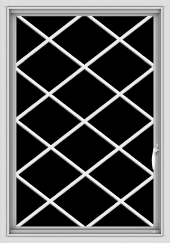 WDMA 28x40 (27.5 x 39.5 inch) Vinyl uPVC White Push out Casement Window  with Diamond Grills