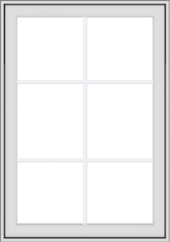 WDMA 28x40 (27.5 x 39.5 inch) White Vinyl uPVC Crank out Awning Window with Colonial Grids Exterior