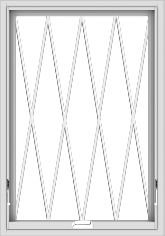 WDMA 28x40 (27.5 x 39.5 inch) White Vinyl uPVC Crank out Awning Window without Grids with Diamond Grills