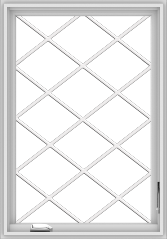 WDMA 28x40 (27.5 x 39.5 inch) White Vinyl uPVC Crank out Casement Window  with Diamond Grills