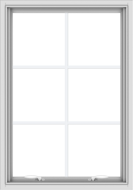 WDMA 28x40 (27.5 x 39.5 inch) White uPVC Vinyl Push out Awning Window with Colonial Grids Interior
