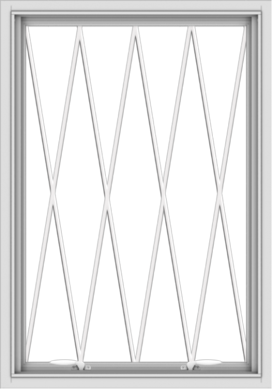 WDMA 28x40 (27.5 x 39.5 inch) White uPVC Vinyl Push out Awning Window without Grids with Diamond Grills