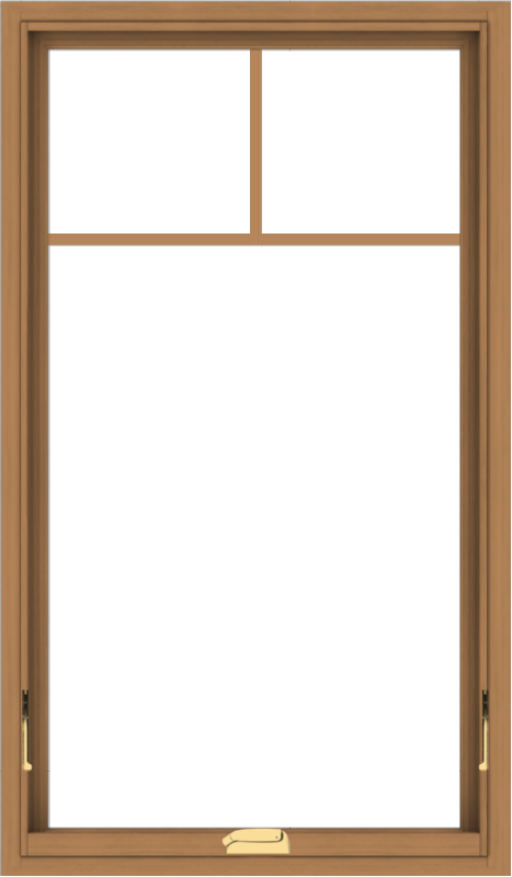 WDMA 28x48 (27.5 x 47.5 inch) Oak Wood Dark Brown Bronze Aluminum Crank out Awning Window with Fractional Grilles