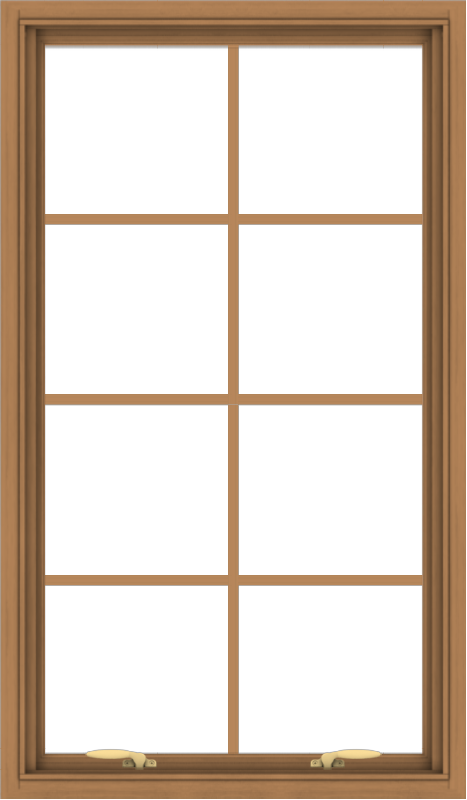 WDMA 28x48 (27.5 x 47.5 inch) Oak Wood Green Aluminum Push out Awning Window with Colonial Grids Interior