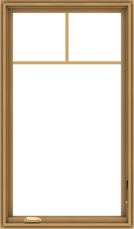 WDMA 28x48 (27.5 x 47.5 inch) Pine Wood Dark Grey Aluminum Crank out Casement Window with Fractional Grilles