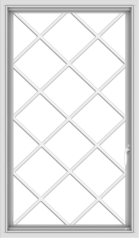 WDMA 28x48 (27.5 x 47.5 inch) uPVC Vinyl White push out Casement Window without Grids with Diamond Grills