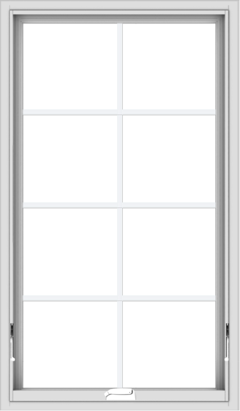 WDMA 28x48 (27.5 x 47.5 inch) White Vinyl uPVC Crank out Awning Window with Colonial Grids Interior