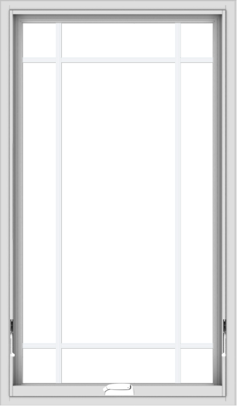 WDMA 28x48 (27.5 x 47.5 inch) White Vinyl uPVC Crank out Awning Window with Prairie Grilles
