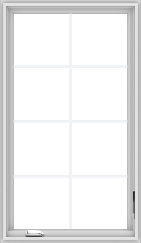 WDMA 28x48 (27.5 x 47.5 inch) White Vinyl uPVC Crank out Casement Window with Colonial Grids