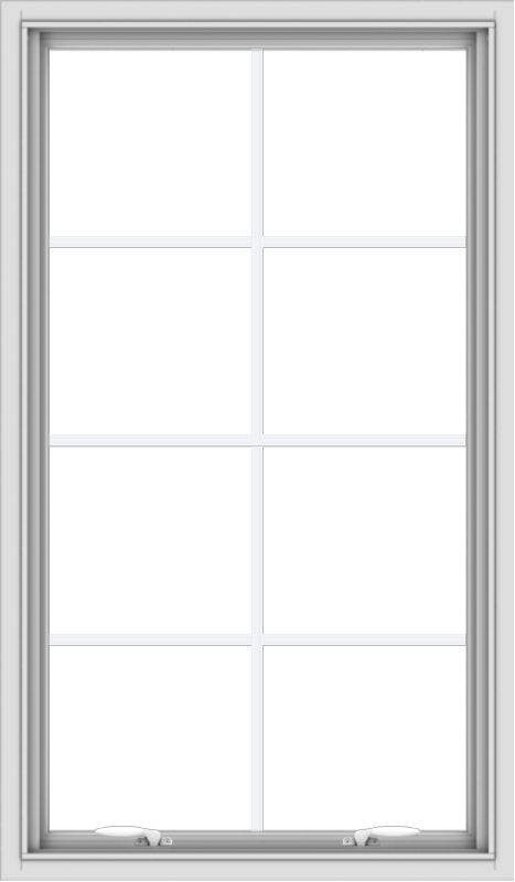 WDMA 28x48 (27.5 x 47.5 inch) White uPVC Vinyl Push out Awning Window with Colonial Grids Interior