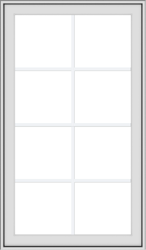 WDMA 28x48 (27.5 x 47.5 inch) White uPVC Vinyl Push out Awning Window with Colonial Grids Exterior