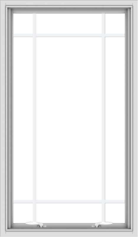 WDMA 28x48 (27.5 x 47.5 inch) White uPVC Vinyl Push out Awning Window with Prairie Grilles