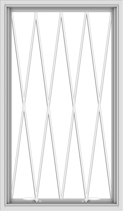 WDMA 28x48 (27.5 x 47.5 inch) White uPVC Vinyl Push out Awning Window without Grids with Diamond Grills