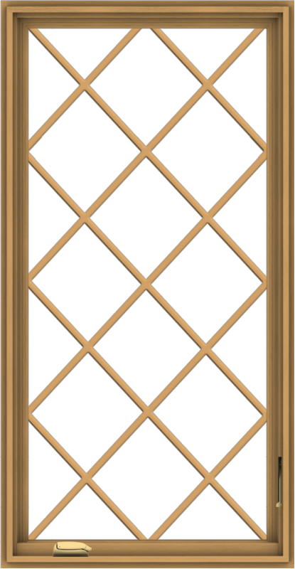 WDMA 28x54 (27.5 x 53.5 inch) Pine Wood Dark Grey Aluminum Crank out Casement Window without Grids with Diamond Grills