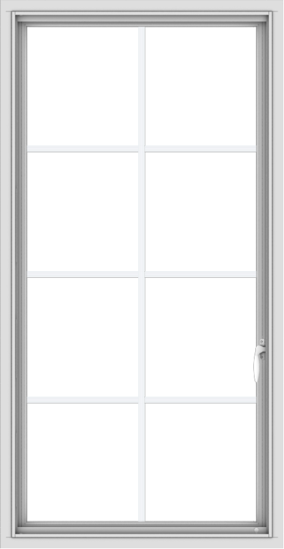 WDMA 28x54 (27.5 x 53.5 inch) uPVC Vinyl White push out Casement Window with Colonial Grids